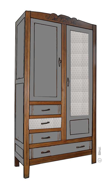 armoire vintage maelle croquis de relooking lilibroc