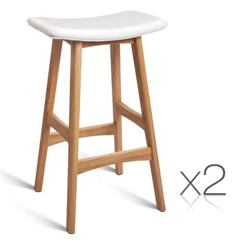 2x white pu leather bar stools with oak wood legs buy