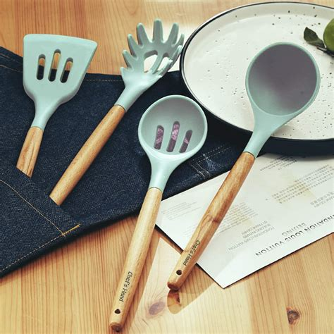 wood cooking utensils silicone kitchen utensil non bamboo nonstick handles toxic chefs 11piece cookware tongs spatula spoon turner hand chef