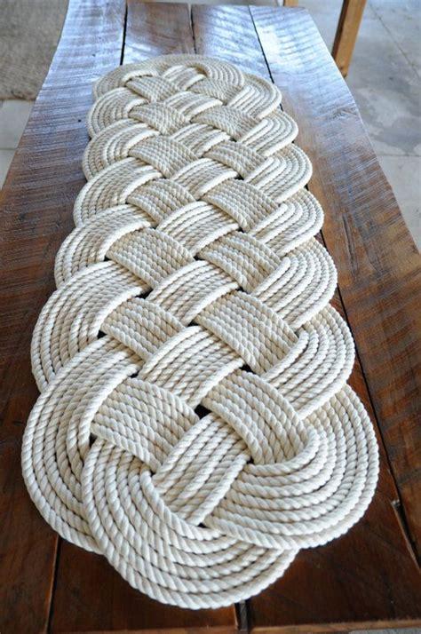 nautical rope rug large bath mat  white  cotton