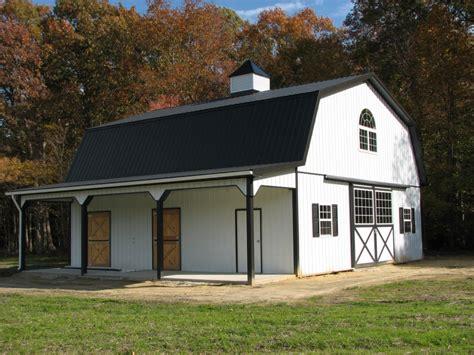 Modern White Wall Interior Of A Gambrel Pole Barn As A