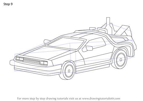 learn   draw delorean     future    future step  step drawing