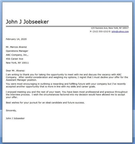 job decline letter sample creative resume design