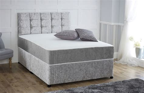 Divan Beds With Headboards by Coil Sprung Crushed Velvet Orthopaedic Divan Bed With