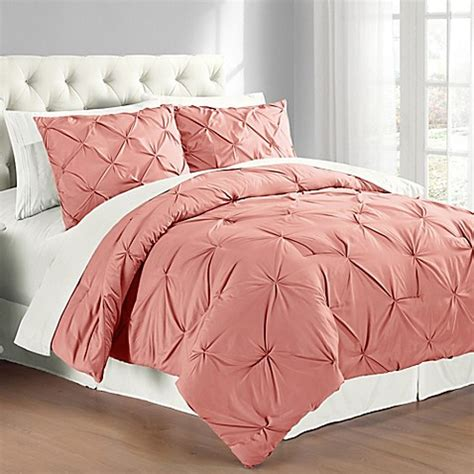 buy pintuck king comforter set in coral from bed bath beyond