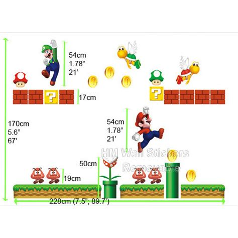 giant size super mario bros removable wall sticker
