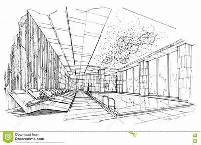 Sketch Interior Pool Swimming Perspective Pools Prospettiva