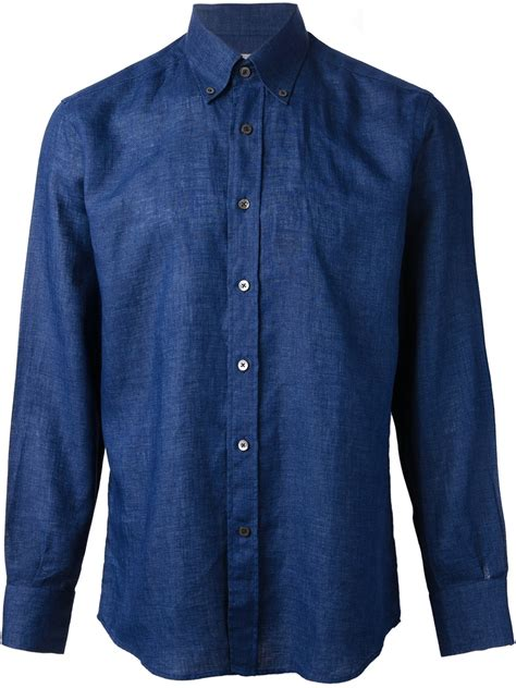 lyst canali classic chambray shirt in blue for