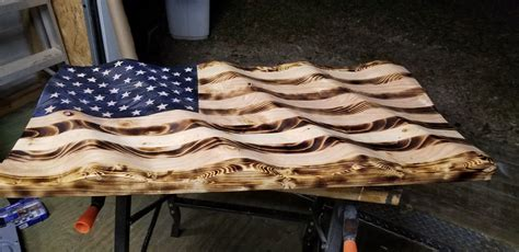 wooden wavy american flag  builds   american