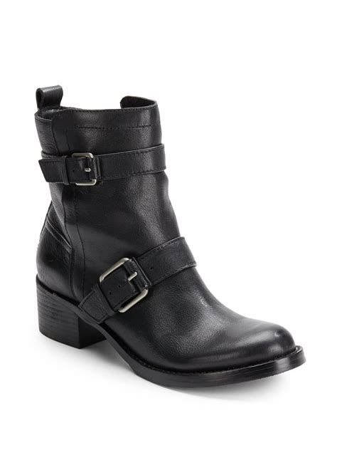womens black leather moto boots lucky brand hanae leather moto boots in black lyst