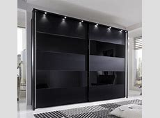 PHOEBE by Stylform Black Matt & Glass Wardrobe Head2Bed UK