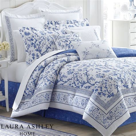 charlotte blue  white floral comforter bedding  laura