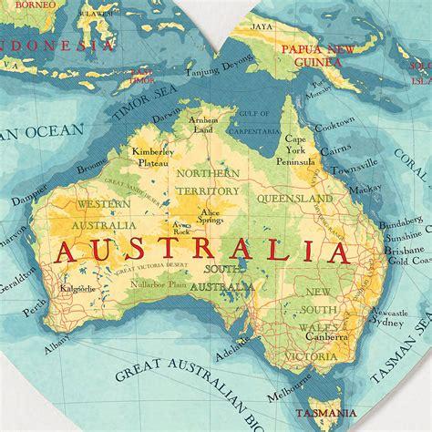 australia map heart print  bombus   peg