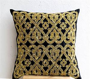 decorative throw pillow black silk gold from casaamore With black and brown decorative pillows