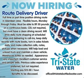 hiring route delivery driver tri state water