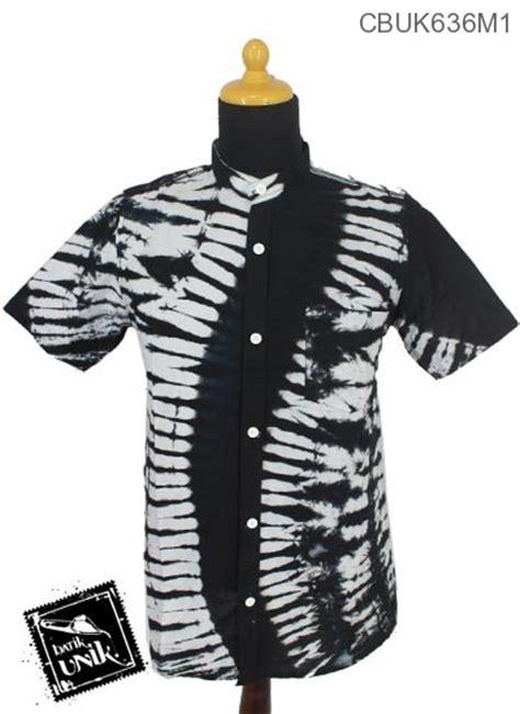 baju batik kemeja kerah koko motif jumputan hitam putih koko batik murah batikunik
