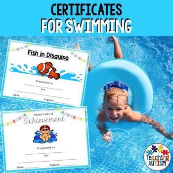 swimming award certificates  teaching autism tpt