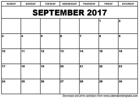 September 2017 Calendar Template September 2017 Calendar Template