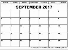 September 2017 Calendar monthly calendar template