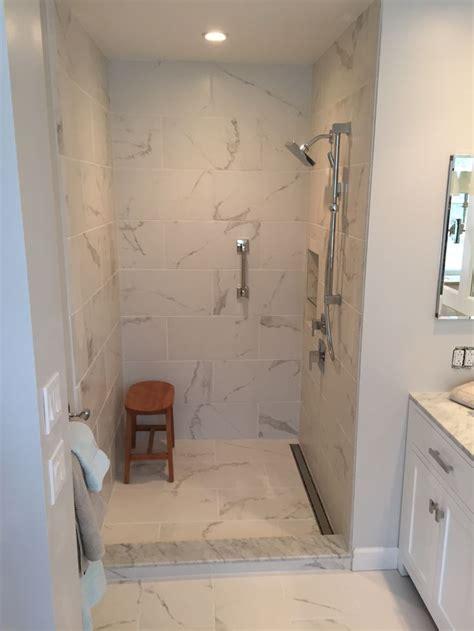 Designer Bathroom Tile by Custom Shower Stall Linear Drain Calcutta Porcelain Tile