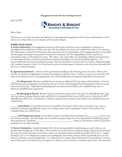 audit engagement letter format accounting engagement letter sle templates resume 20525
