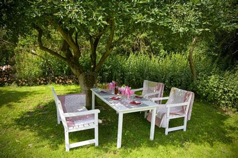 a place in the shade for lunch in the garden on a