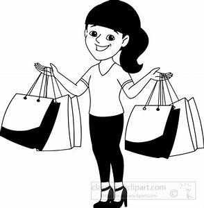 Black & White clipart shopping bag - Pencil and in color ...