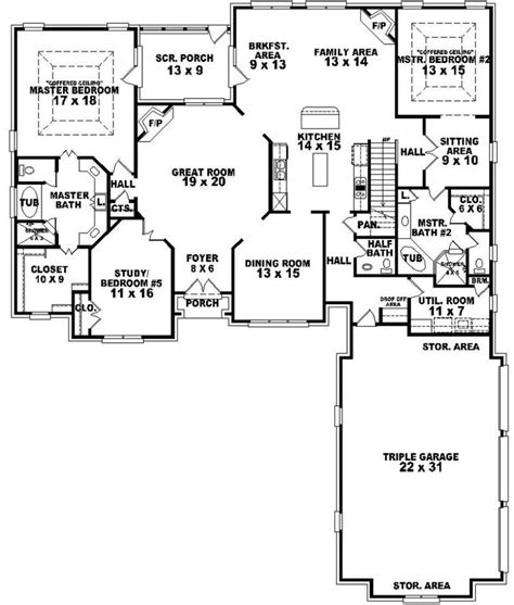 house plans 2 master suites single 654269 4 bedroom 3 5 bath traditional house plan with