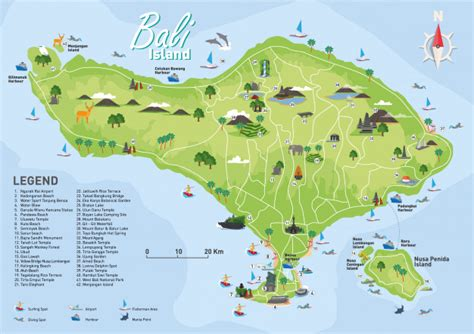 bali tourist destination map vector premium