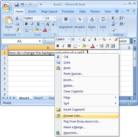 Excel Background Color Ms Excel 2007 Change The Background Color Of A Cell