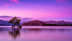 Landscape, Of, Mountains, And, Body, Of, Water, Under, Purple, Sky, Hd, Nature, Wallpapers