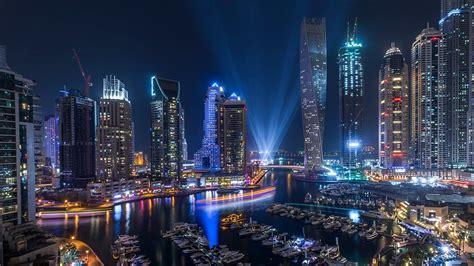 Dubai Marina At Night Hd Wallpaper