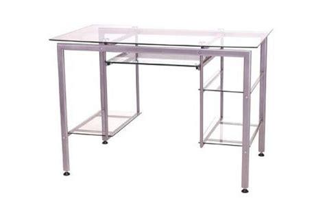 bureau verre metal bureau multimédia en verre et métal laqué telma miliboo