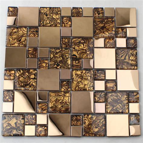 glass mosaic tile kitchen backsplash gold glass mosaic tile backsplash stainless steel metal 6840