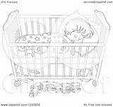 Sleeping Crib Boy Toddler Clipart Illustration Cot Royalty Bannykh Alex Coloring Vector Pages Regarding Notes Template sketch template