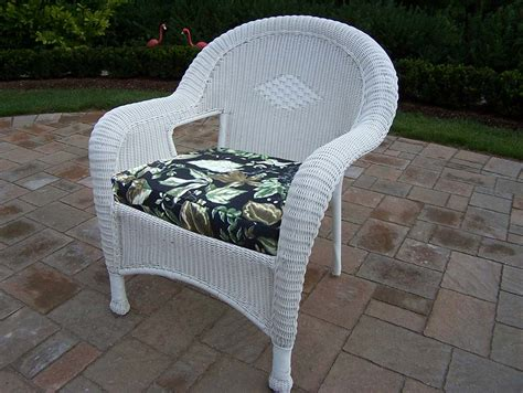 oakland living white resin wicker arm chair with cushions