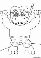 Coloring Pages Hippo Snorkeling Printable Print Beach Dot Categories sketch template