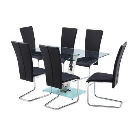 agora ensemble table 224 manger 6 chaises en simili noir