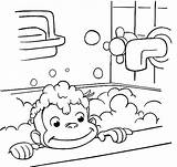 Curious George Coloring Pages Bathing Printable Monkey Bathroom Sheets Bath Halloween Colouring Printables Taking Drawing Cartoon Take Clipart Shower Fun sketch template