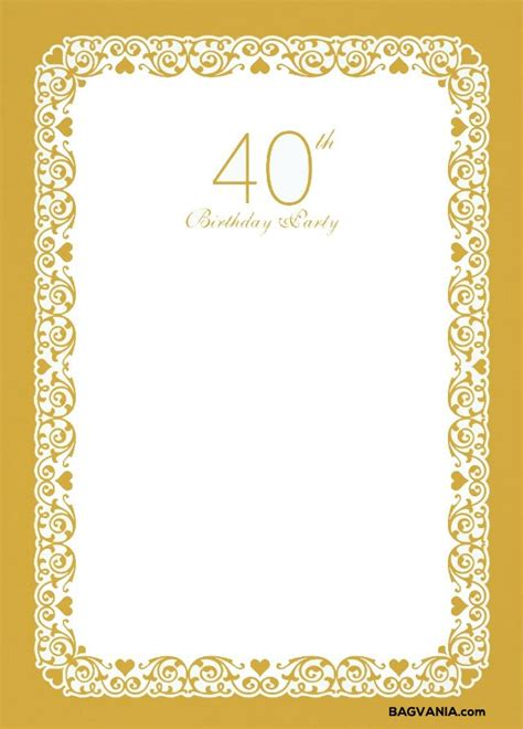 FREE Printable 40th Birthday Invitation Template