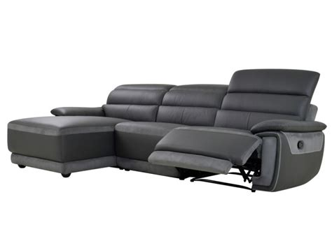 canape angle relax microfibre canap 233 d angle relax en cuir et microfibre anthracite samos