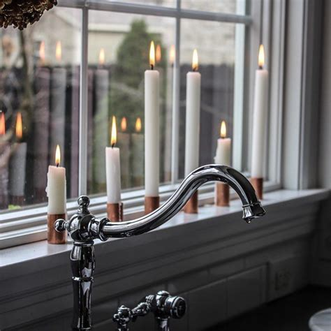 window sill candles christmas candle porch decorating cottage windowsill