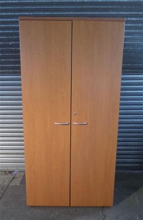 Tall Dark Beech Wood Office Storage Cabinet   LUOF