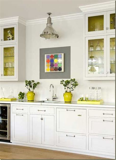 Yellow Color Accents Jazz Up Elegant Dark Gray Kitchen