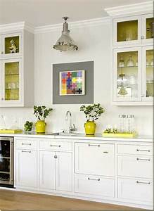 yellow color accents jazz up elegant dark gray kitchen With kitchen colors with white cabinets with decorative wall art sets