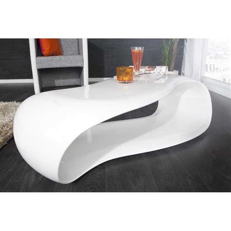 Table Basse Blanche  Table Basse 110 Cm Design Vague En