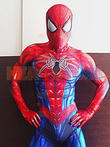 newest red blue spiderman costume spandex print tight