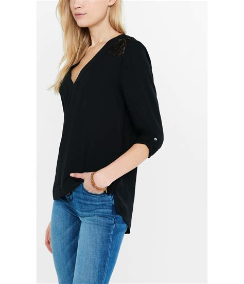 v blouse express black v neck lace yoke blouse in black lyst