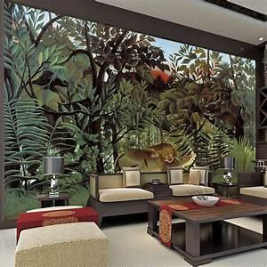 Rousseau Jungle Painting Wallpaper Custom 3D Wall Murals ...