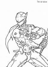 Genji Abylaikhan Ausmalbilder Hanzo Sketchite Largement Kaito Chacal Bastion Lendario Aleatórios Besuchen Từ sketch template